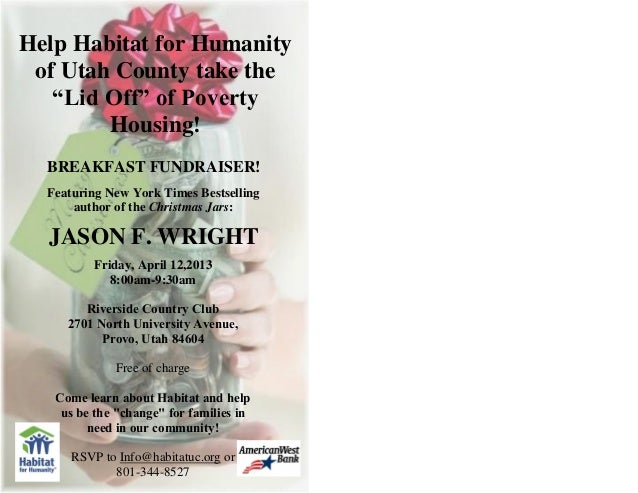 "Help Habitat for Humanity of Utah County take the   ""Lid Off"" of Poverty        Housing!  BREAKFAST FUNDRAISER!  Featuring..."