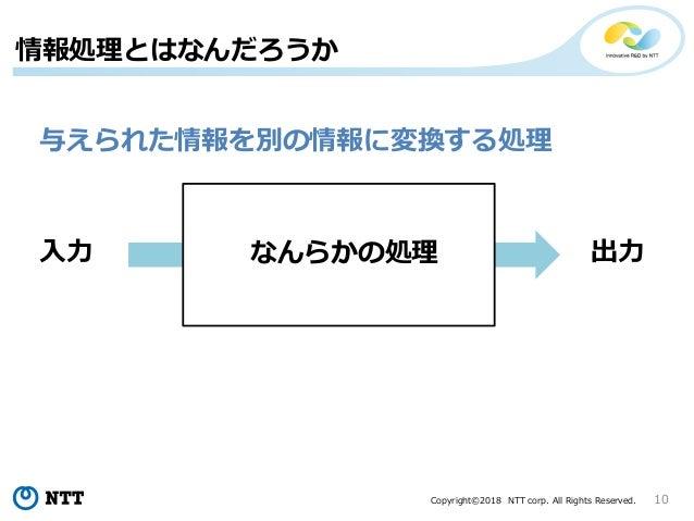 Copyright©2018 NTT corp. All Rights Reserved. 10 情報処理とはなんだろうか 与えられた情報を別の情報に変換する処理 なんらかの処理入力 出力
