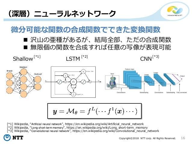 Copyright©2018 NTT corp. All Rights Reserved. 16 (深層)ニューラルネットワーク 微分可能な関数の合成関数でできた変換関数  沢山の亜種があるが、結局全部、ただの合成関数  無限個の関数を合成...