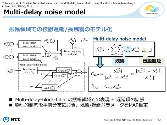 Copyright©2018 NTT corp. All Rights Reserved. 42 Multi-delay noise model 振幅領域での伝搬遅延/長残響のモデル化 Time-frame delay Gain Gain Ga...