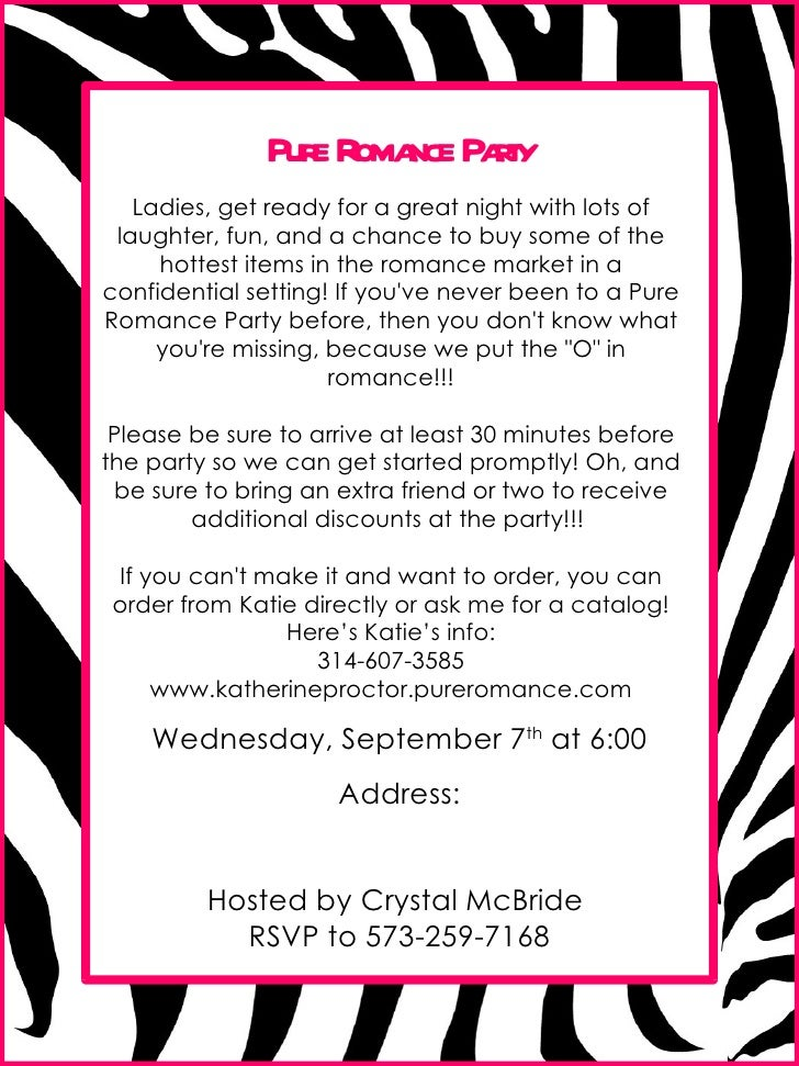 Invite flyer 1 pure romance party ladies get ready for a great night with lots of laughter stopboris Gallery