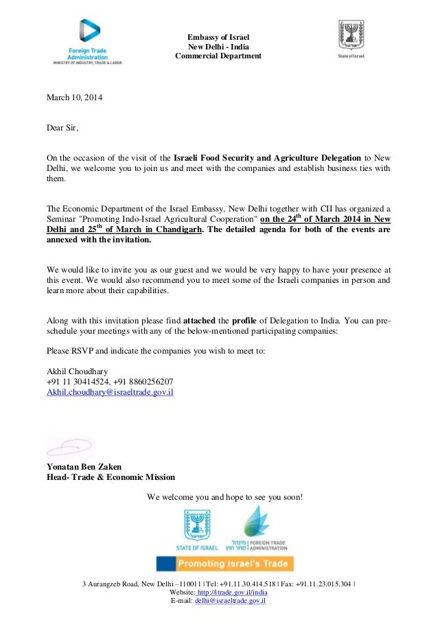 Delegation Letter | Invite Letter For Food Security Delegation