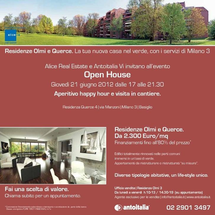 Invito Evento Open House Residenza Querce 4 | Milano 3 | 21 giugno 2012 v.2