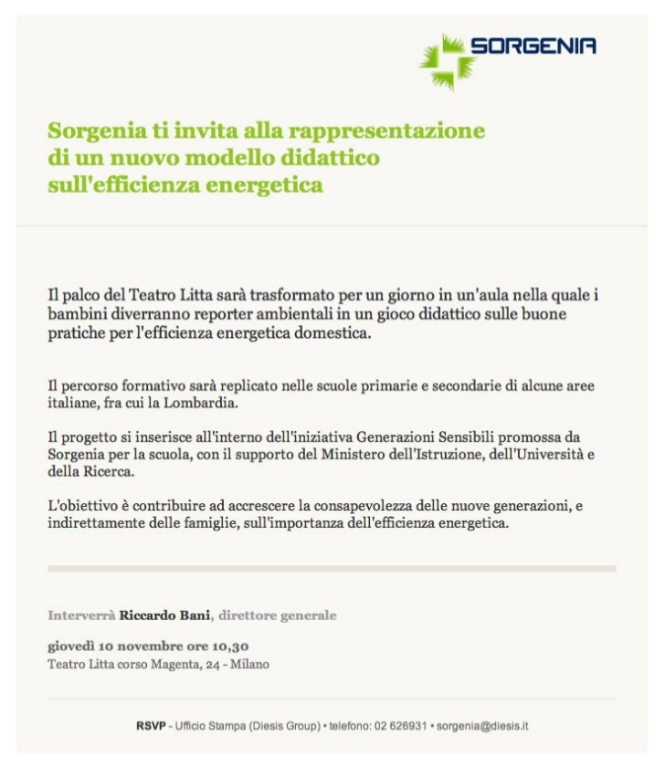 Invito alla rappresentazione di un nuovo modello didattico per insegnare ai bimbi l'efficienza energetica e la sostenibilità