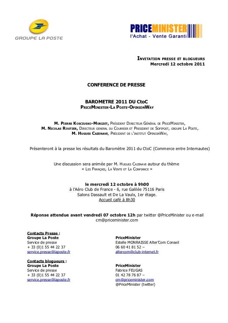 Invitation Presse et Blogueurs Baromètre du CtoC 2011