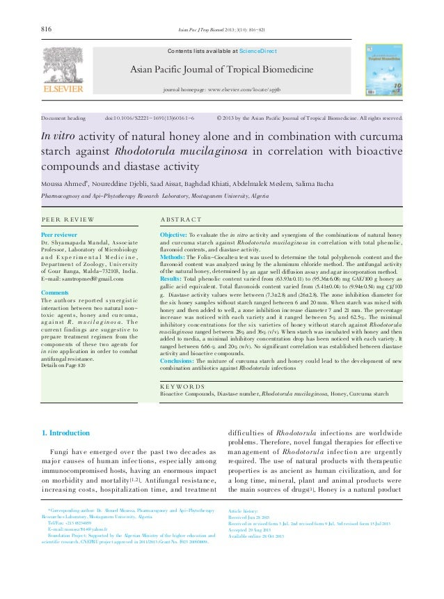 Antifungal Activity of Honey with Curcuma Starch against