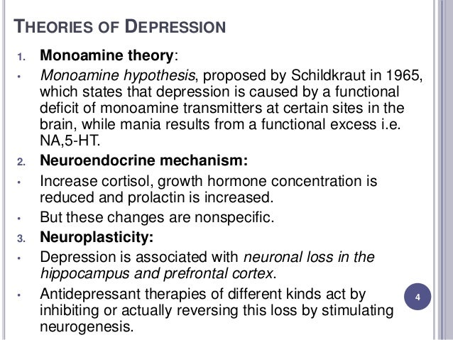 monoamine theory of depression Explain and evaluate the monoamine hypothesis of depression and how this has provided a rationale for drugtreatment i hypothesis.