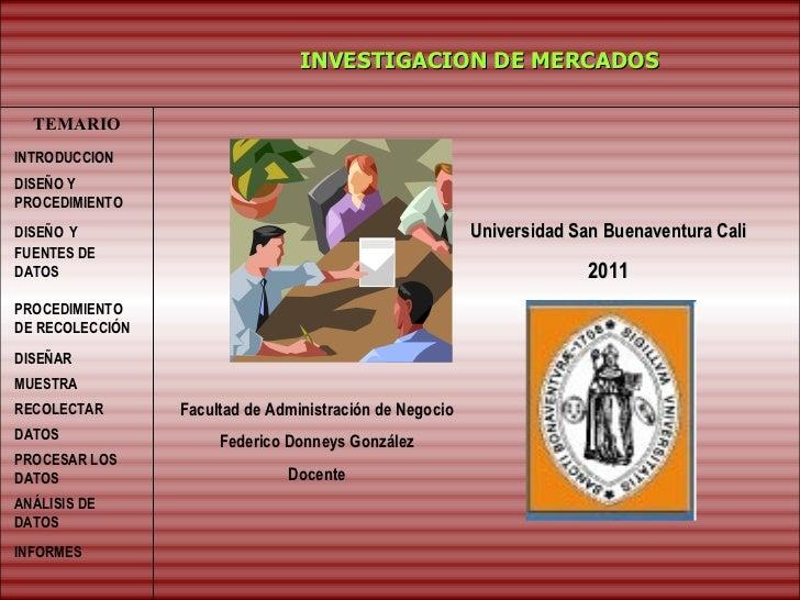INVESTIGACION DE MERCADOS TEMARIO INTRODUCCION DISEÑO   Y FUENTES DE DATOS PROCEDIMIENTO DE RECOLECCIÓN  DISEÑAR MUESTRA  ...