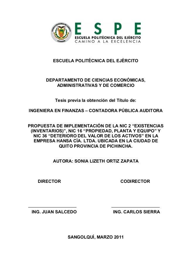 ESCUELA POLITÉCNICA DEL EJÉRCITO       DEPARTAMENTO DE CIENCIAS ECONÓMICAS,           ADMINISTRATIVAS Y DE COMERCIO       ...