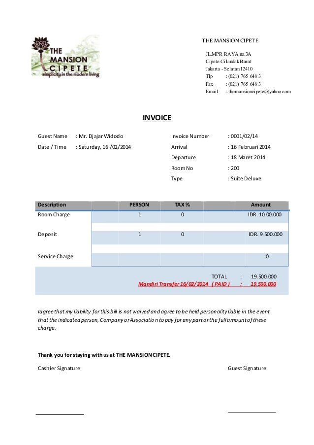 THE MANSION CIPETE INVOICE JL.MPR RAYA no.3A Cipete.Cilandak Barat ...