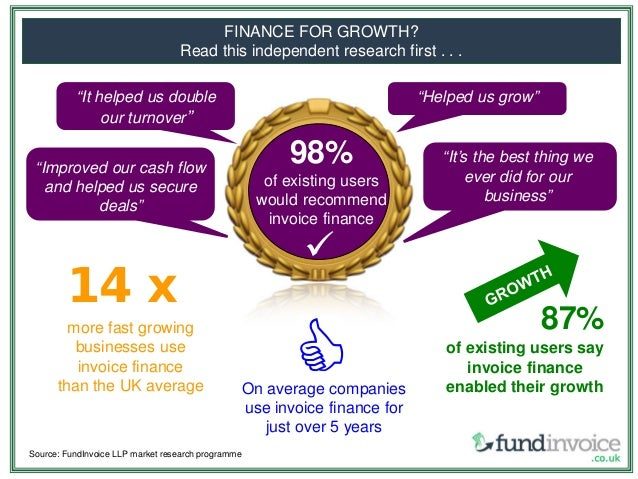 """""""It helped us double our turnover"""" FINANCE FOR GROWTH? Read this independent research first . . . Source: FundInvoice LLP ..."""