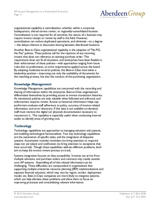 AP Invoice Management in a Networked EconomyPage 11organizational capability is centralization, whether within a corporate...