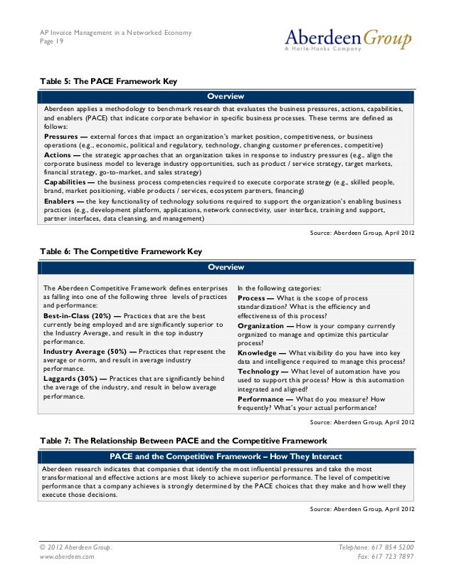 AP Invoice Management in a Networked EconomyPage 19Table 5: The PACE Framework Key                                        ...