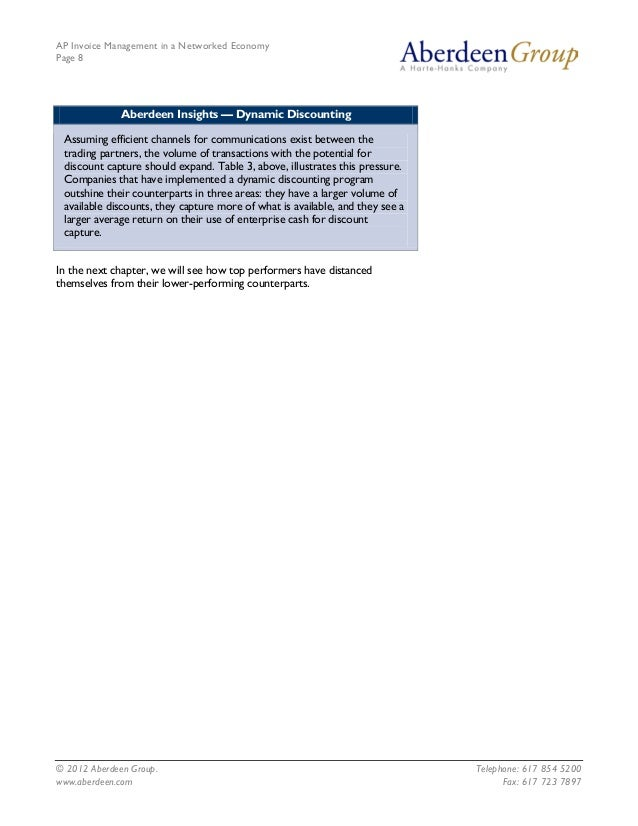 AP Invoice Management in a Networked EconomyPage 8              Aberdeen Insights — Dynamic Discounting Assuming efficient...
