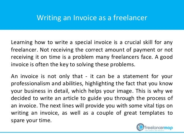 Writing An Invoice ...  Write Invoice