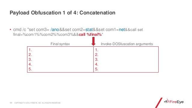 """• cmd /c """"set com3= /ano&&set com2=stat&&set com1=net&&call set final=%com1%%com2%%com3%&&call %final%"""" 101 1. 2. 3. 4. 5...."""