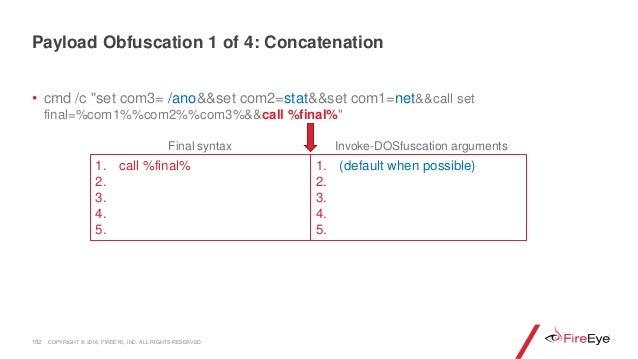 """• cmd /c """"set com3= /ano&&set com2=stat&&set com1=net&&call set final=%com1%%com2%%com3%&&call %final%"""" 102 1. call %final..."""