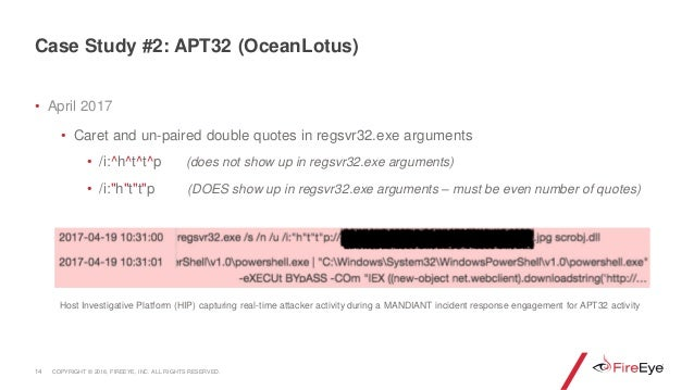 • April 2017 • Caret and un-paired double quotes in regsvr32.exe arguments • /i:^h^t^t^p (does not show up in regsvr32.exe...
