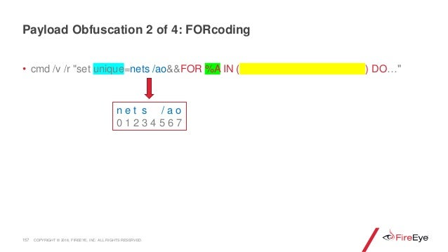 """157 • cmd /v /r """"set unique=nets /ao&&FOR %A IN ( ) DO…"""" n e t s / a o 0 1 2 3 4 5 6 7 Payload Obfuscation 2 of 4: FORcodi..."""