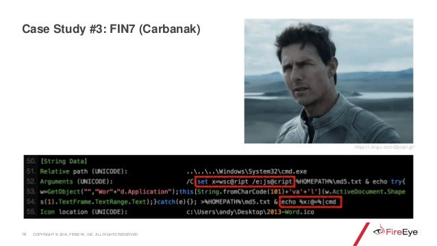 16 Case Study #3: FIN7 (Carbanak) https://i.imgur.com/tZpnpiI.gif COPYRIGHT © 2018, FIREEYE, INC. ALL RIGHTS RESERVED.