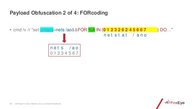 """161 • cmd /v /r """"set unique=nets /ao&&FOR %A IN (0 1 2 3 2 6 2 4 5 6 0 7 ) DO…"""" Payload Obfuscation 2 of 4: FORcoding n e ..."""