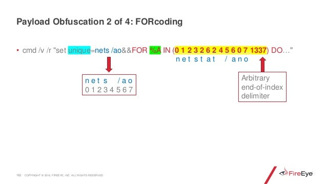 """162 • cmd /v /r """"set unique=nets /ao&&FOR %A IN (0 1 2 3 2 6 2 4 5 6 0 7 1337) DO…"""" Payload Obfuscation 2 of 4: FORcoding ..."""