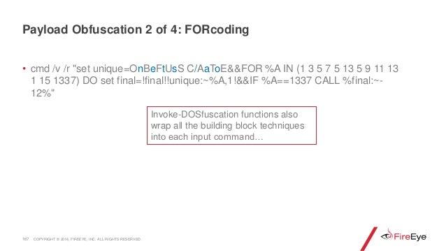 "167 • cmd /v /r ""set unique=OnBeFtUsS C/AaToE&&FOR %A IN (1 3 5 7 5 13 5 9 11 13 1 15 1337) DO set final=!final!!unique:~%..."