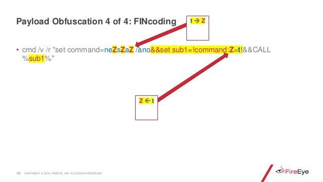 "• cmd /v /r ""set command=neZsZaZ /ano&&set sub1=!command:Z=t!&&CALL %sub1%"" 185 Z  t Payload Obfuscation 4 of 4: FINcodin..."