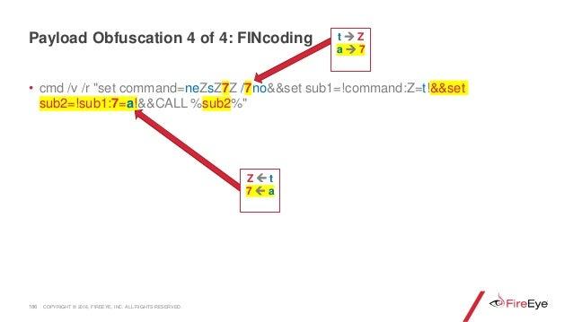 """• cmd /v /r """"set command=neZsZ7Z /7no&&set sub1=!command:Z=t!&&set sub2=!sub1:7=a!&&CALL %sub2%"""" 186 Z  t 7  a Payload O..."""