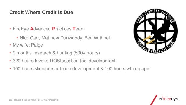 • FireEye Advanced Practices Team • Nick Carr, Matthew Dunwoody, Ben Withnell • My wife: Paige • 9 months research & hunti...