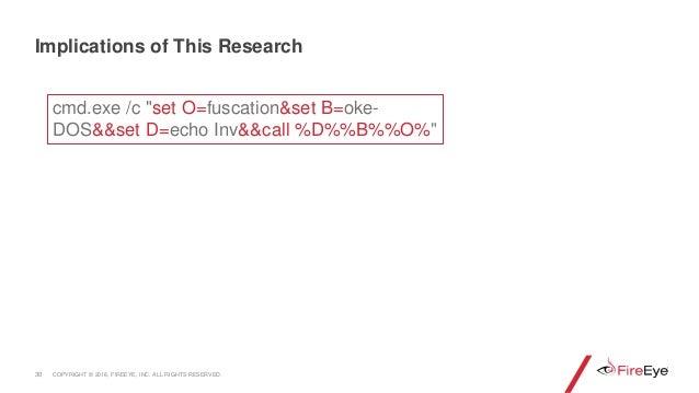 "30 Implications of This Research cmd.exe /c ""set O=fuscation&set B=oke- DOS&&set D=echo Inv&&call %D%%B%%O%"" COPYRIGHT © 2..."