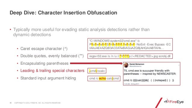• Typically more useful for evading static analysis detections rather than dynamic detections • Caret escape character (^)...