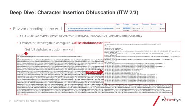 • Env var encoding in the wild • SHA-256: 9e1df42f00829d16afd97c575f08da45467bbcab92ca5e3d2832a009dddaa8a7 • Obfuscator: h...