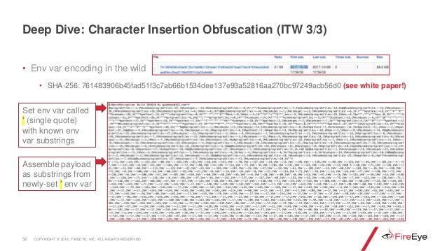Set env var called ' (single quote) with known env var substrings • Env var encoding in the wild • SHA-256: 761483906b45fa...