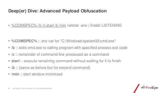 "• %COMSPEC% /b /c start /b /min netstat -ano | findstr LISTENING • %COMSPEC% :: env var for ""C:Windowssystem32cmd.exe"" • /..."