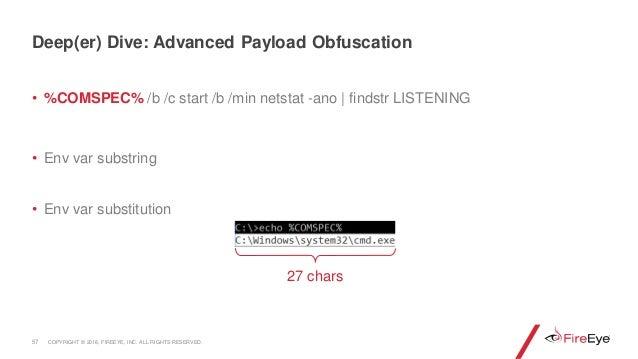 • %COMSPEC% /b /c start /b /min netstat -ano | findstr LISTENING • Env var substring • Env var substitution 57 Deep(er) Di...