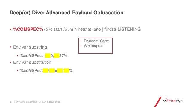 • %COMSPEC% /b /c start /b /min netstat -ano | findstr LISTENING • Env var substring • %coMSPec:~ 0, 27% • Env var substit...