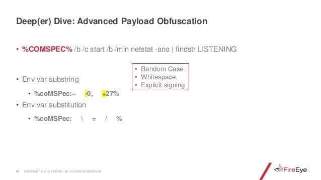 • %COMSPEC% /b /c start /b /min netstat -ano | findstr LISTENING • Env var substring • %coMSPec:~ -0, +27% • Env var subst...