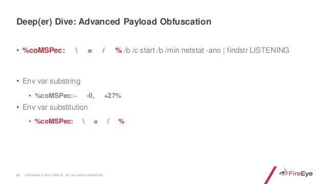• %coMSPec:  = / % /b /c start /b /min netstat -ano | findstr LISTENING • Env var substring • %coMSPec:~ -0, +27% • Env va...