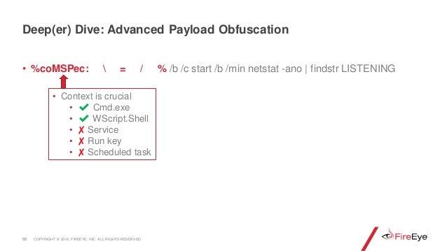 • %coMSPec:  = / % /b /c start /b /min netstat -ano | findstr LISTENING 66 • Context is crucial • ✔ Cmd.exe • ✔ WScript.Sh...