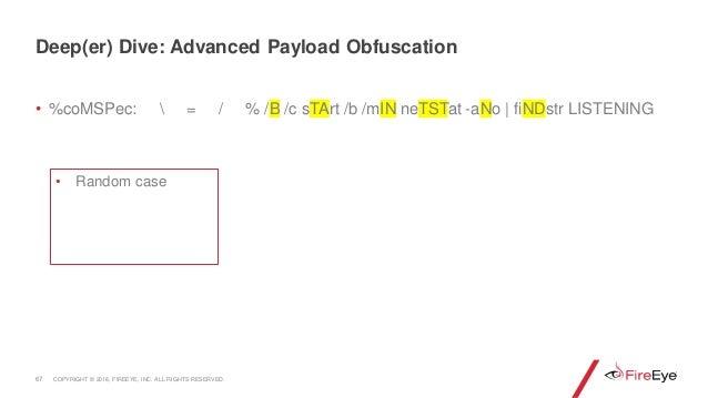 • %coMSPec:  = / % /B /c sTArt /b /mIN neTSTat -aNo | fiNDstr LISTENING 67 • Random case Deep(er) Dive: Advanced Payload O...