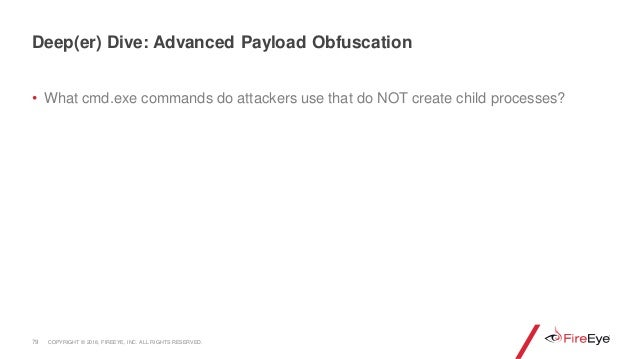 • What cmd.exe commands do attackers use that do NOT create child processes? 79 Deep(er) Dive: Advanced Payload Obfuscatio...