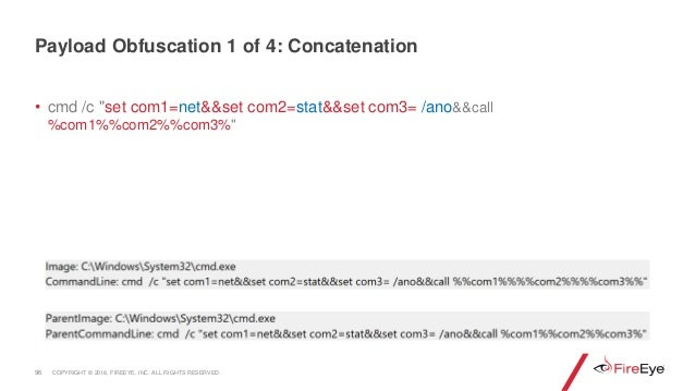 """• cmd /c """"set com1=net&&set com2=stat&&set com3= /ano&&call %com1%%com2%%com3%"""" 96 Payload Obfuscation 1 of 4: Concatenati..."""