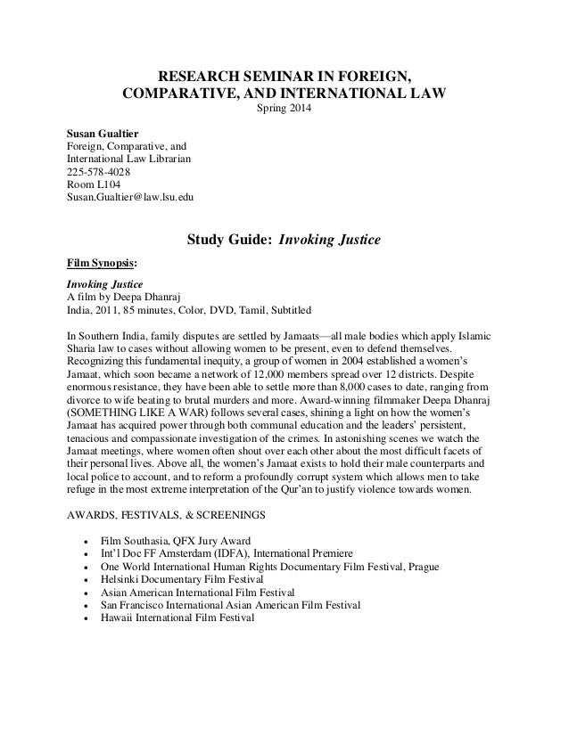RESEARCH SEMINAR IN FOREIGN,  COMPARATIVE, AND INTERNATIONAL LAW  Spring 2014  Susan Gualtier  Foreign, Comparative, and  ...