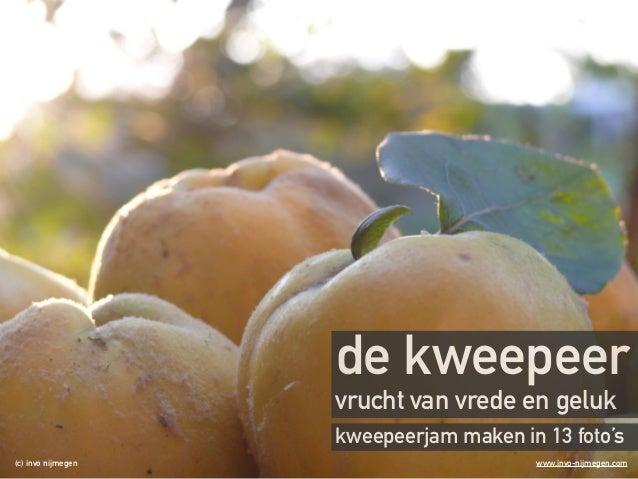 de kweepeer  vrucht van vrede en geluk  kweepeerjam maken in 13 foto's  (c) invo nijmegen www.invo-nijmegen.com