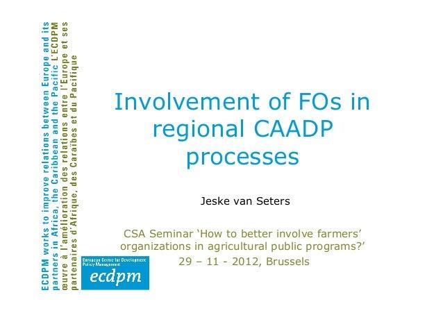 Involvement of FOs in   regional CAADP      processes               Jeske van Seters CSA Seminar 'How to better involve fa...