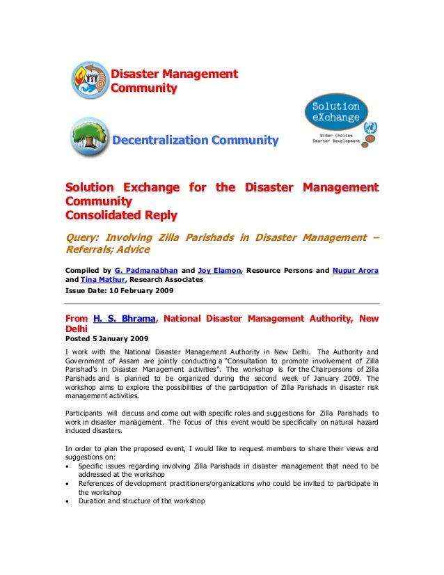Disaster Management              Community              Decentralization CommunitySolution Exchange for the Disaster Manag...