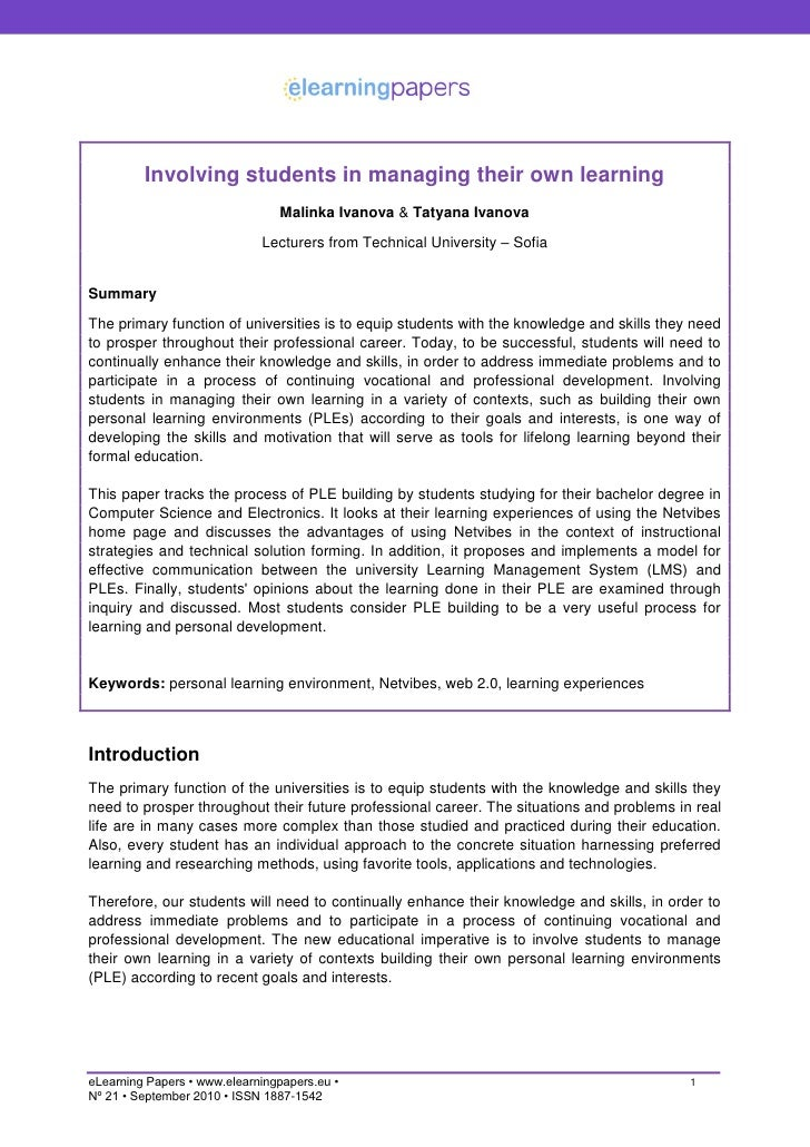 Involving students in managing their own learning                                 Malinka Ivanova & Tatyana Ivanova       ...