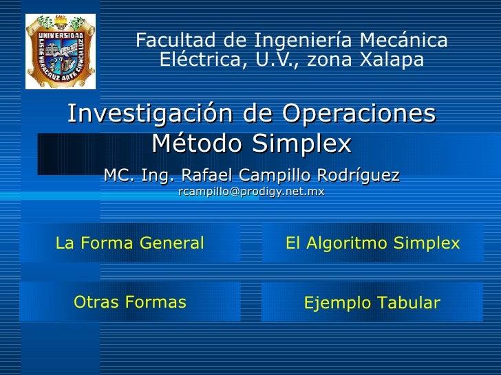 Investigación de Operaciones Método Simplex MC. Ing. Rafael Campillo Rodríguez [email_address] Facultad de Ingeniería Mecá...