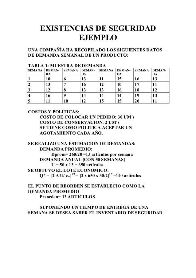 EXISTENCIAS DE SEGURIDAD              EJEMPLOUNA COMPAÑÍA HA RECOPILADO LOS SIGUIENTES DATOSDE DEMANDA SEMANAL DE UN PRODU...